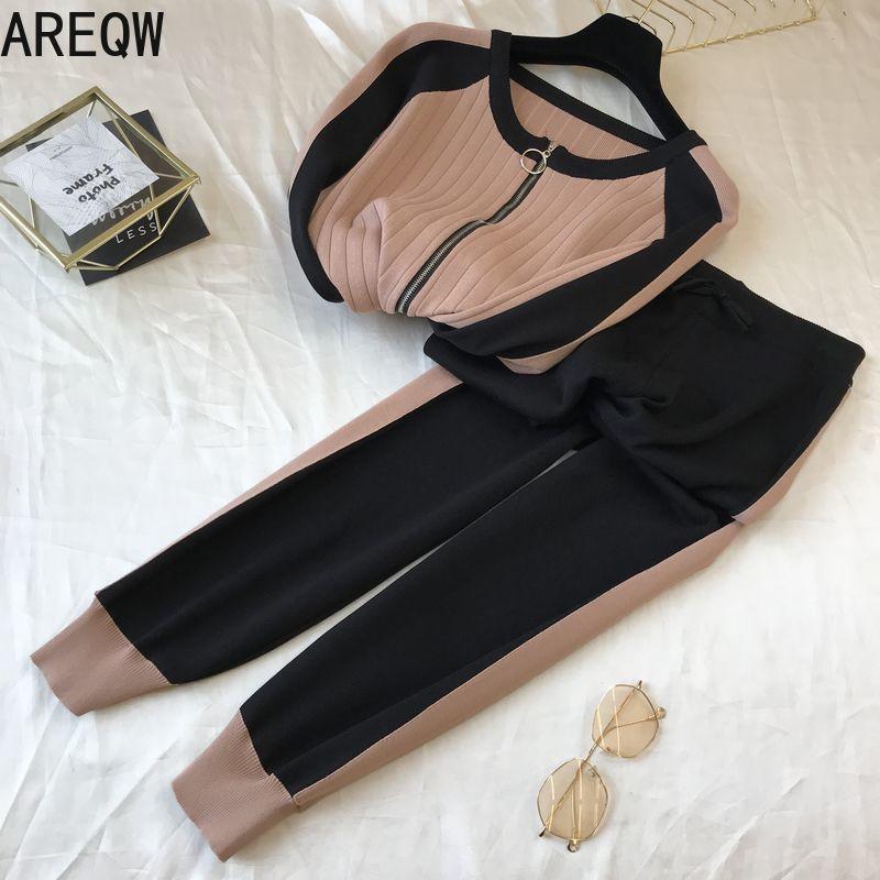 Primavera y otoño Cardigan Traje para mujer Pantalones de dos piezas Pantalones de moda Temperamento de moda Conjuntos de mujeres 201119