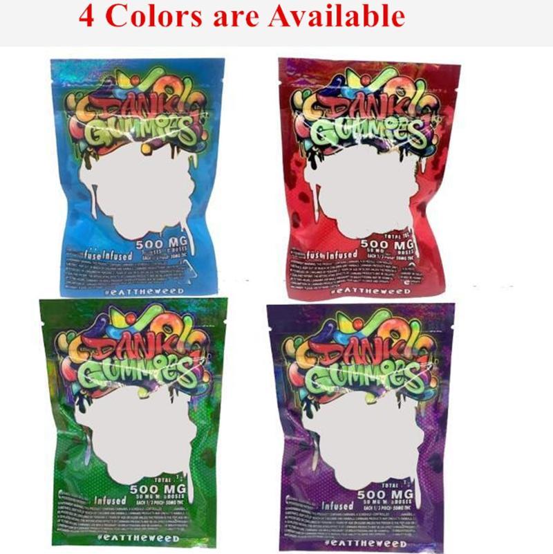 2021 NUEVOS GOUMMES DANK 500mg Maylar Bolsa Dank Gummies Bolsa de cremallera Tabaco Seco Bolso minorista Gomy Candy Mylar Bolsas 500mg Bolsas de embalaje