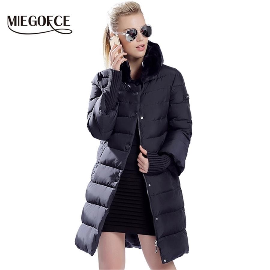 Miegofce Kış Ördek Aşağı Ceket Kadınlar Uzun Coat Sıcak Parkas Kalın Kadın Sıcak Giysi Tavşan Kürk Yaka Yüksek Kalite Y201001