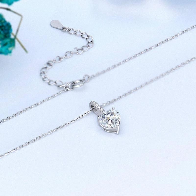 Frauen 925 Silber Herz Diamant-Halsketten-Anhänger Moissanite Diamant-Liebes-Claviclekette Einfache Anhänger Necklaces1 sW3T #
