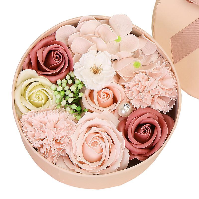 Artificial sabão flores caixa de presente dia dos namorados dia mãe casamento festival presente rosa decoração flor