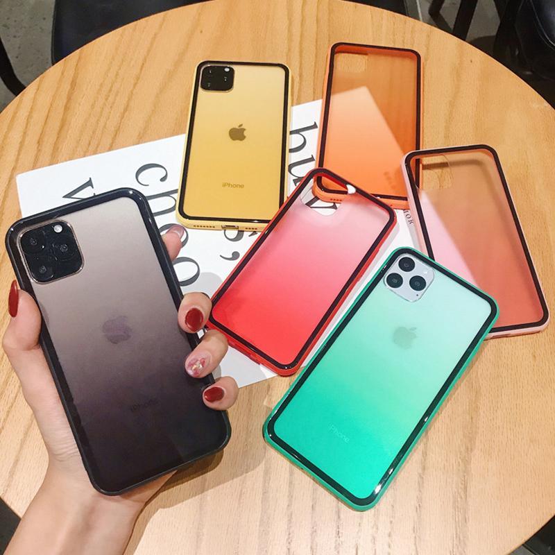 Caso della copertura trasparente di protezione Cornice arcobaleno di colore di pendenza antiurto trasparente per iPhone 12 Mini 11 Pro Max X XR XS 7 8 più