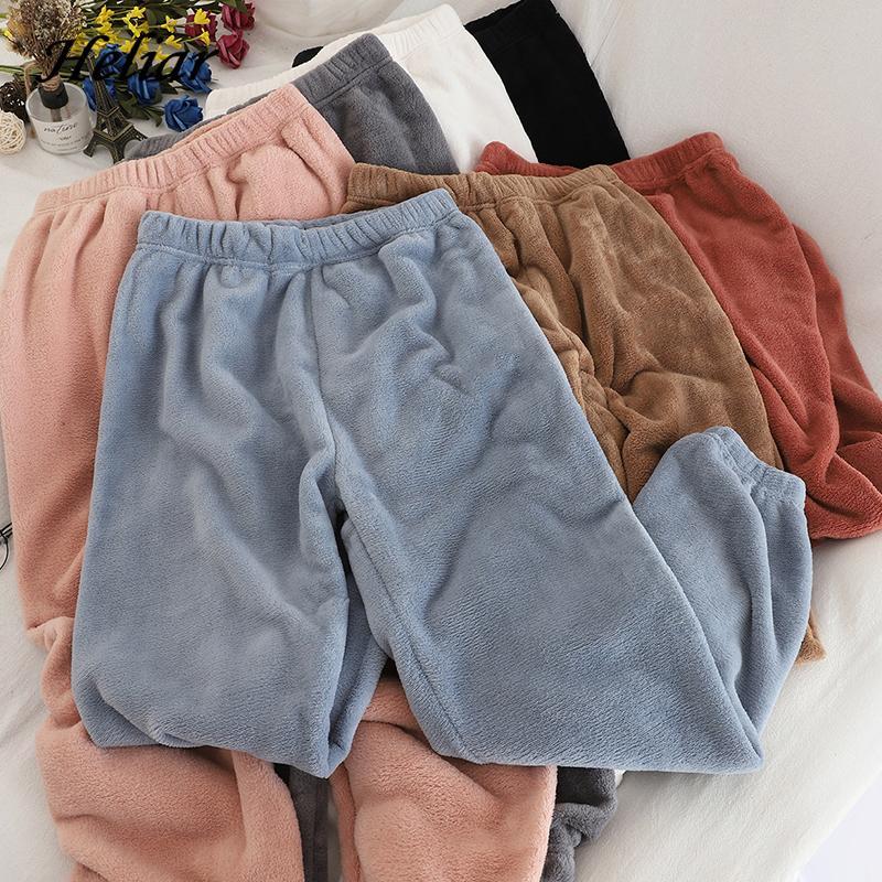 Terciopelo de las mujeres pantalones elásticos de la cintura de vestir exteriores de pijama Pantalones calientes de la cachemira de los cultivos Pantalones de mujeres otoño invierno 2020