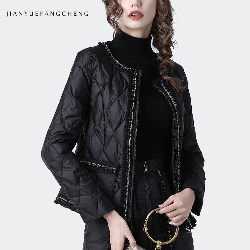 Fashion O-Neck Black Short Down Jacket Women Winter Coat Warm Lightly High Waist Slim Women' Top Plus Size Duck Down Jackets 201019