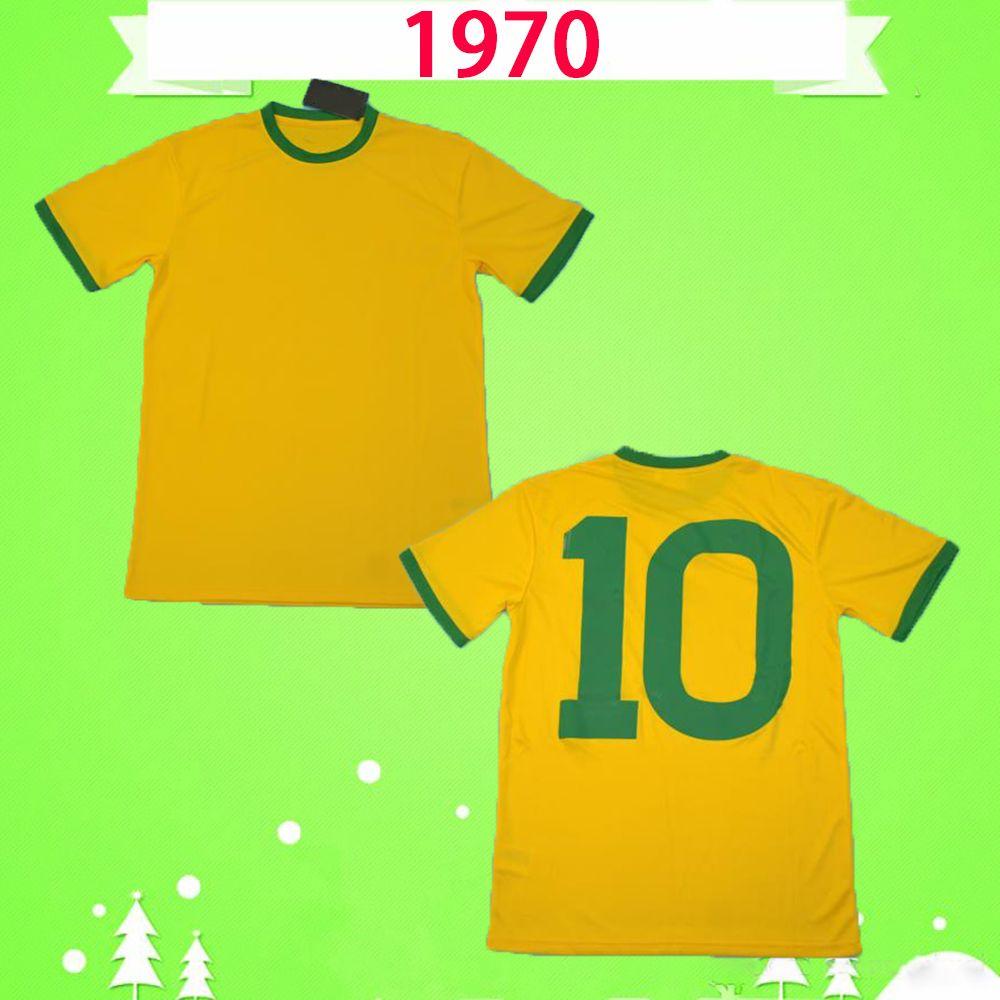Brazil # 10 Pele 1970 Coppa del Mondo Brasil retrò calcio jersey vintage classico commemorato collezione antico 70 camicia da calcio casa giallo futebol