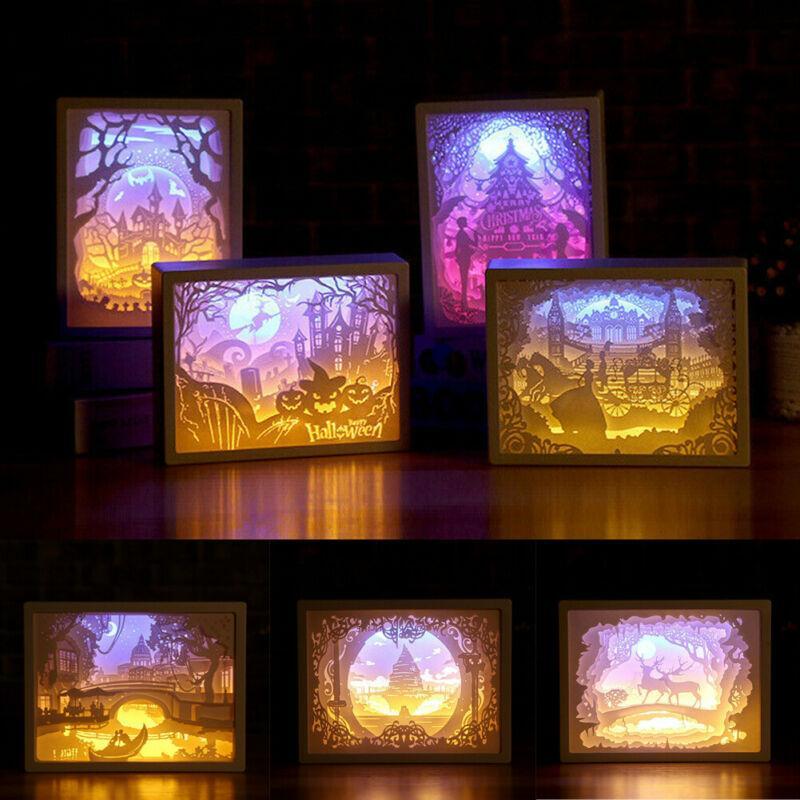 جديد جميل بسيط 3D ورقة نحت ليلة الخفيفة مصباح LED هدية المنزل غرف النوم الفن عيد الميلاد هالوين منحوتة ديكور