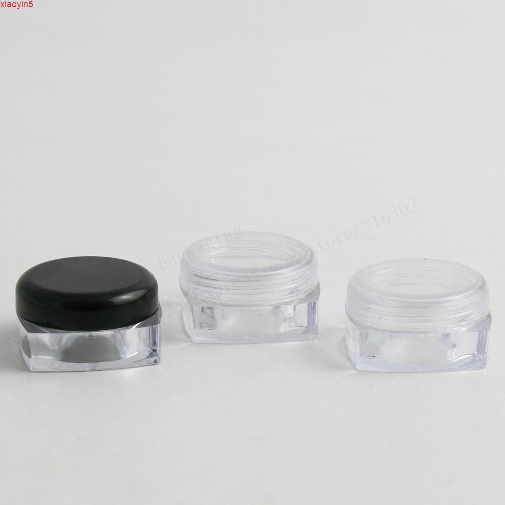 Путешествия Mini 10G Чистый квадратный пластиковый сливк банку бутылки 10cc Дисплей контейнер косметическая упаковка с Whie Clean Cys 100pcsgood Product