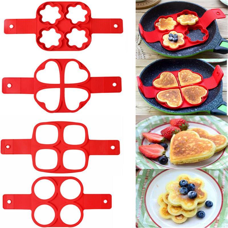 Pancake d'œuf Bague antiadhésif de crêpes à pancake Moule silicone œuf Cuisinière Oeuf Shaper omelet omelette Moules pour accessoires de cuisson de cuisine gratuits DHL