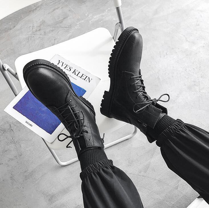 men boots winter lerther botties soft Side zipper High top cool black mens boot fashion keep warm size 40-45 04