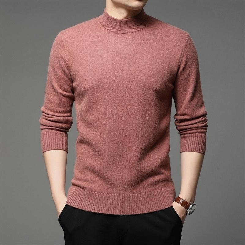 Осенью и зима новых мужчин водолазка пуловер свитер мода твердый цвет толстые и теплые дна рубашки мужская бренд одежда 201201