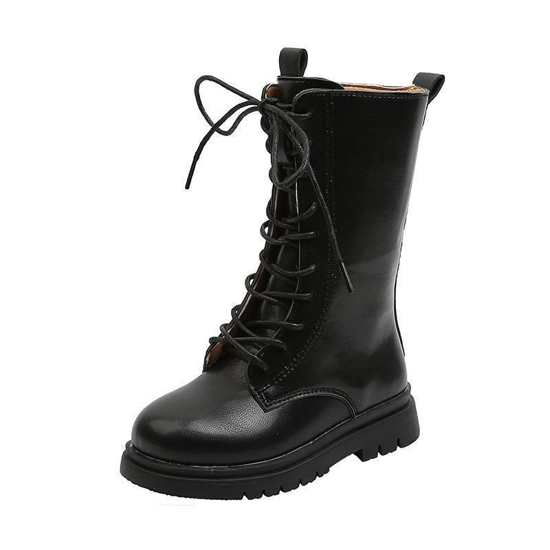 Детские сапоги для ребёнки Середины Кожи Теленка Boots Фронт Узелок Anti-Скользкий Подошва для мальчиков британского стиля детей