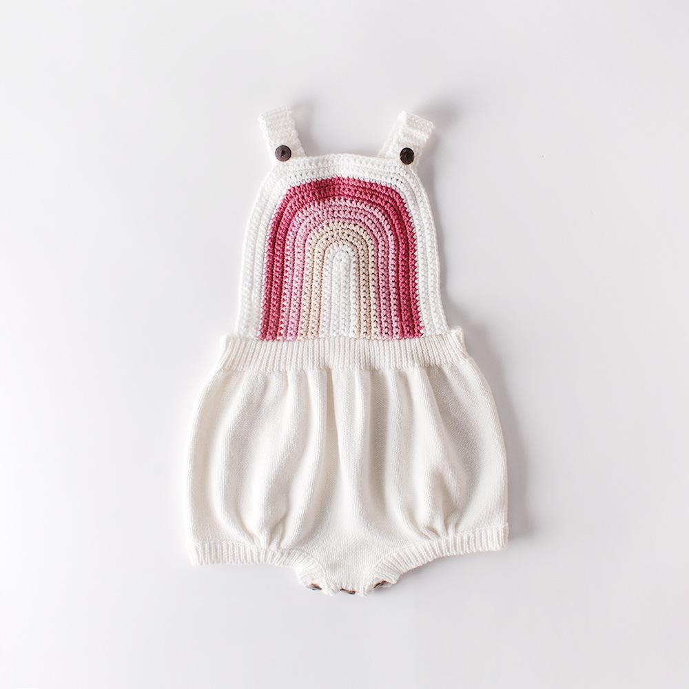 Bébé fille gompe rose rose arc-en-ciel tricoté automne printemps toddler vêtements vêtements