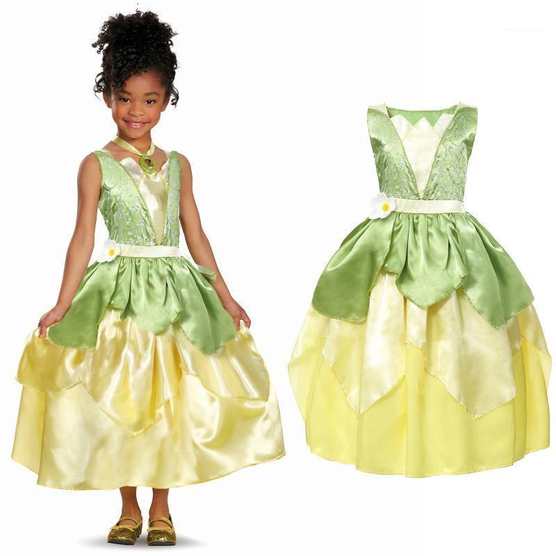 Sommer Tiana Fancy Kleid Mädchen Prinzessin und das Frosch Kostüm Kinder Floral Green Gown Kids Halloween Parth Fancy Cosplay Dress1