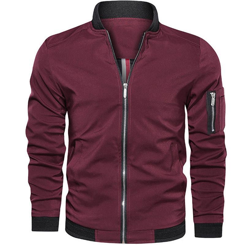 Erkek Ceketler ve Mont 2019 Moda Ince Erkekler Ceket Erkek Motosiklet Streetwear erkek Bombacı Ceket Basit İngiliz Tarzı Adam Coat T200502