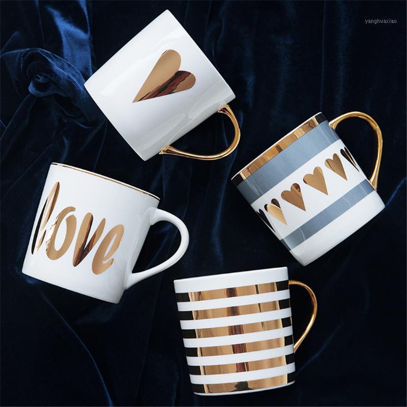 Кружки творческие керамические кофейные кружка завтрак молочные чашки любовь звезда на полоску шаблон золотая ручка для дома