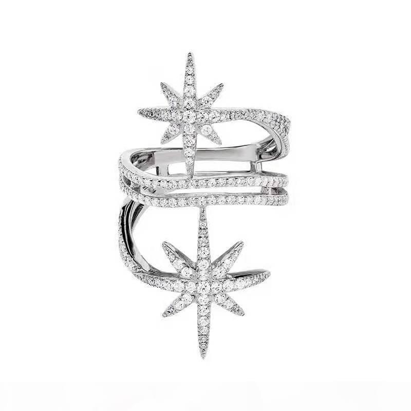 Anillo de oro blanco anillo de las mujeres de Europa y América de la manera popular lleno plateado de la CZ de la estrella para las niñas Mujeres para la fiesta de boda bonito regalo