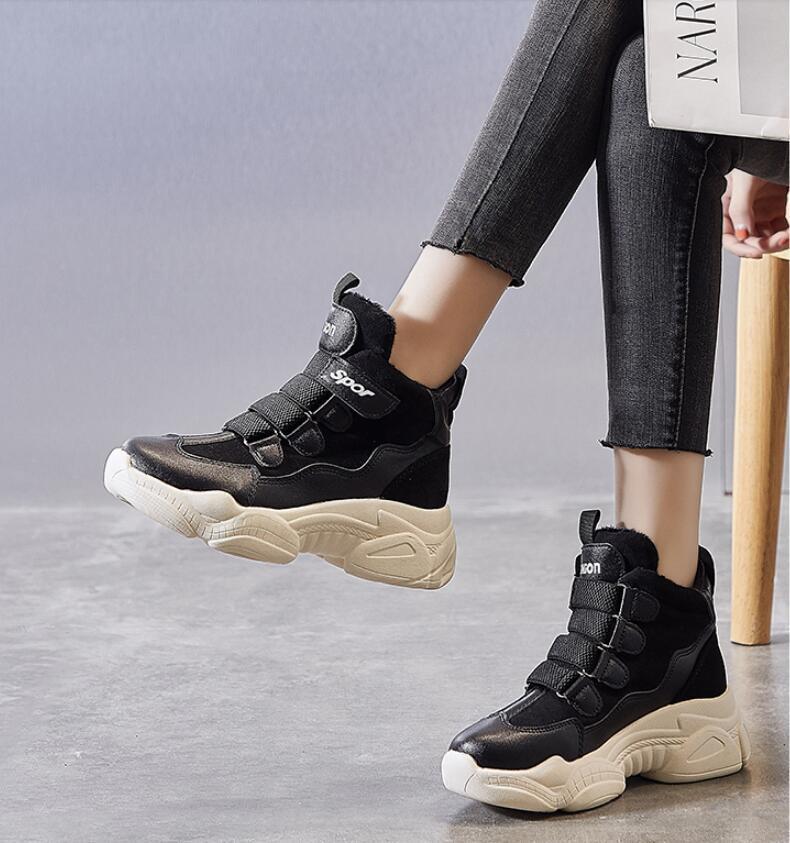 2021 Nouveau Design Filles Mode Chaud Half Bottes Femmes Casual Hiver Snow Bottes Soft Appartements Chaussure Lady Outdoor School Boot Noir Taille 35-40 # P67