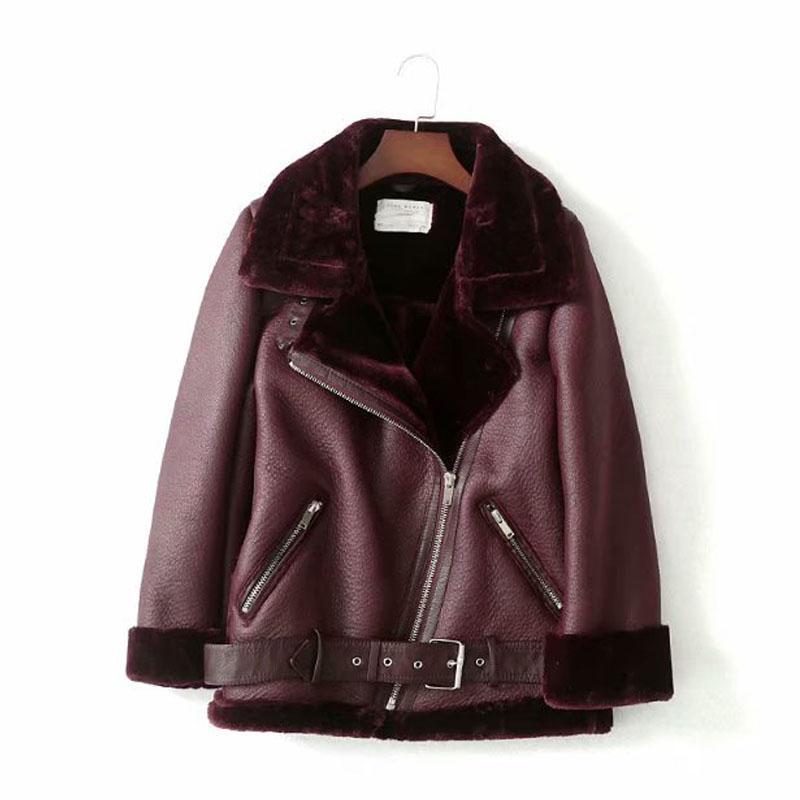 Locomotiva de pele retro com cinturão equitação inverno jaqueta feminina lapela de mangas compridas acolchoado quente chique casaco feminino chique tops