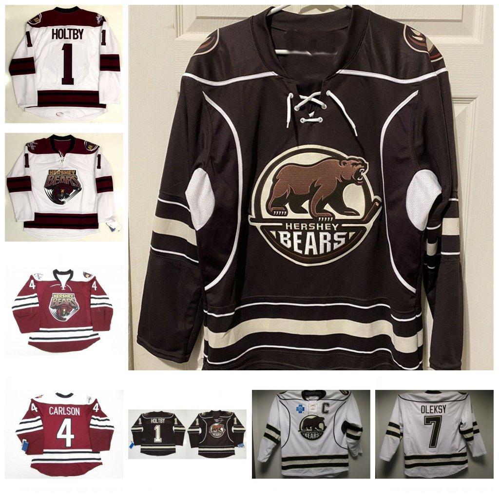 Vintage Uomini Hershey Bears 1 Brian Holt al 7 Steve Oleksy 4 Carlson hokey Jersey Personalizza qualsiasi nome e numero Maglie