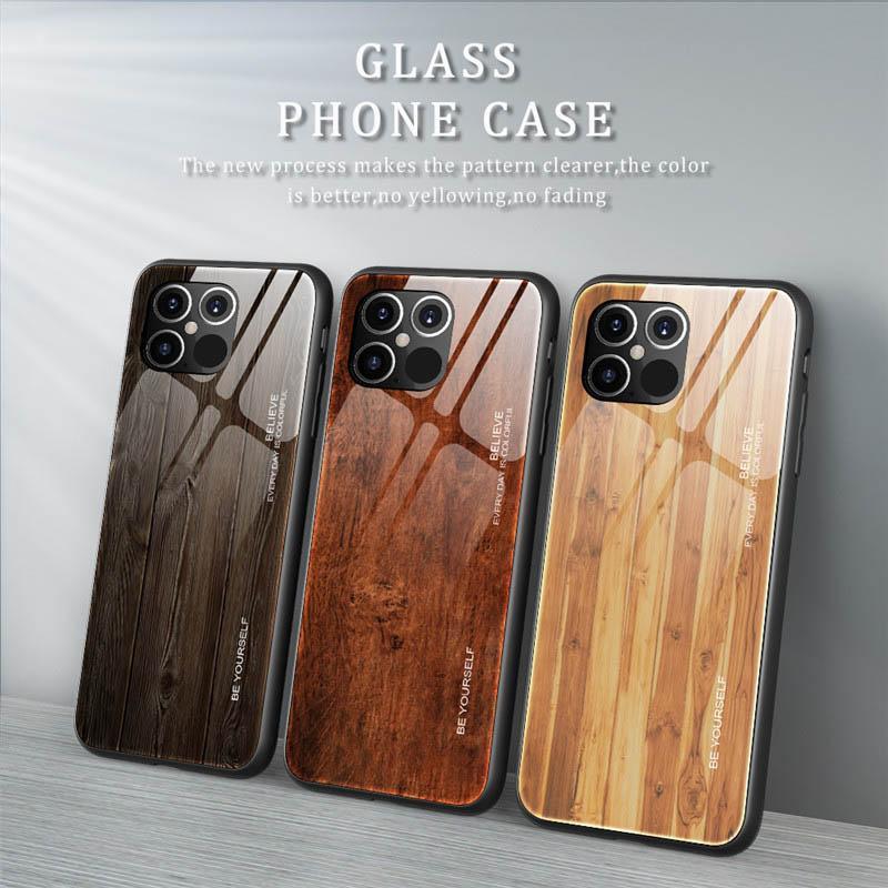 Wood Texture-Telefon-Kasten für iPhone 12 11 Mini Pro MAX XS XR 7 8 Plus SE 2 temperierten Deckelschale Glas zurück
