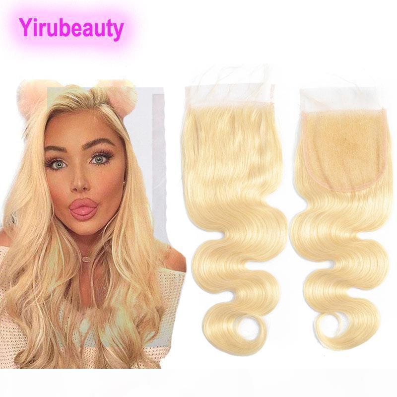 Перуанские человеческие волосы 4x4 кружева закрываются 613 # блондинка кузовной волна 4x4 кружевной закрытие с детскими волосами Топ-закрытие волос Товары для волос 8-22 дюйма
