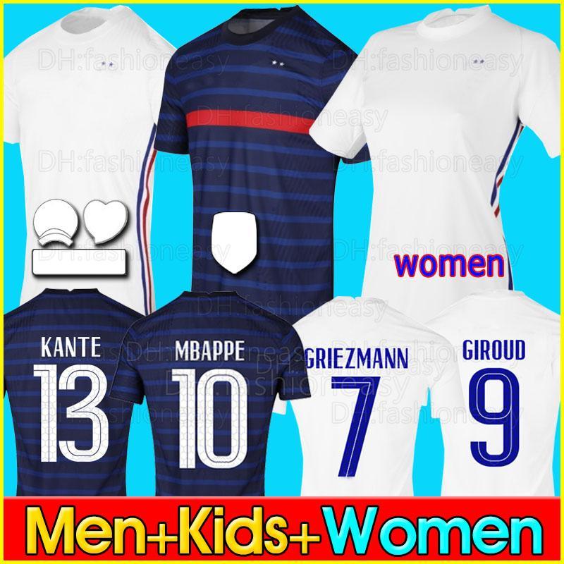 프랑스 유로 2020 2021 프랑스 축구 유니폼 축구 셔츠 2018 월드컵 저지 100th 100 년 남성 + 어린이 키트 유니폼 mbappe