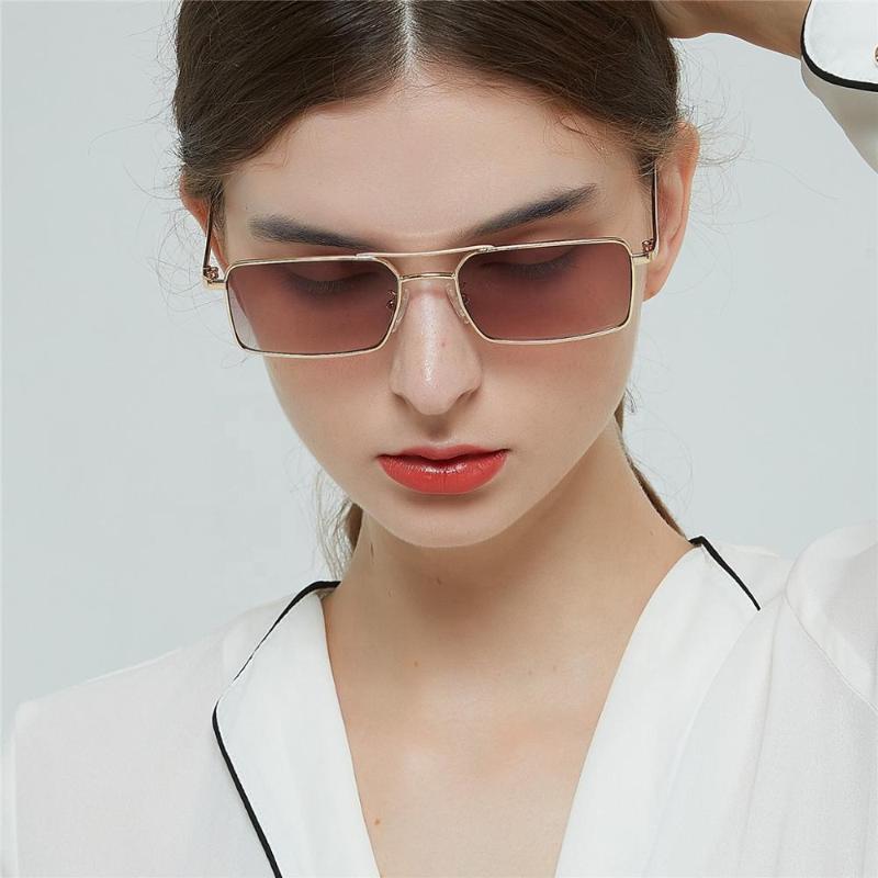 2020 nuovo quadrato occhiali da sole doppio trave in metallo piccola cornice di piazza degli occhiali da sole donne