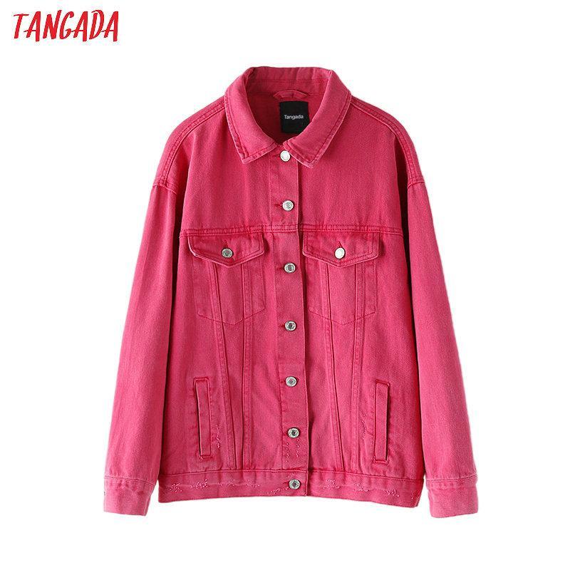 Tangada autunno donne cappotto colore della caramella giacca di jeans gira giù signore a maniche lunghe sciolto cappotto oversize 2N3 201013