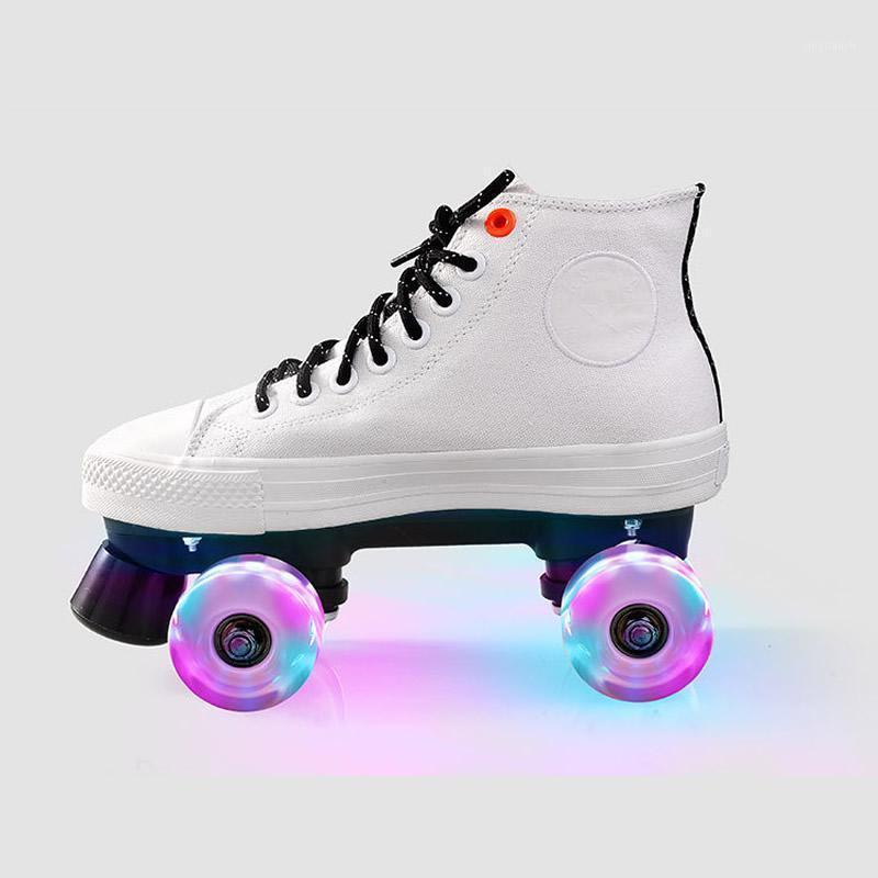 Patins de Rolos Mulheres Homens Amantes Adulto Duas Linhas Skating Sapatos Dupla Linha Patins Branco Canvas Patines com Pu Flashing Wheels1