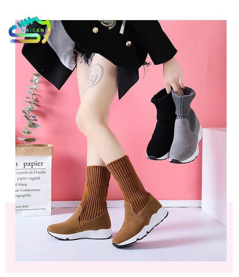 Naicen Mujeres Snow Boots Blav Sobres Sock Respirador Plataforma Plush Fur Botines Suede Zapatos Calientes Mujeres Botas de invierno Sneaker
