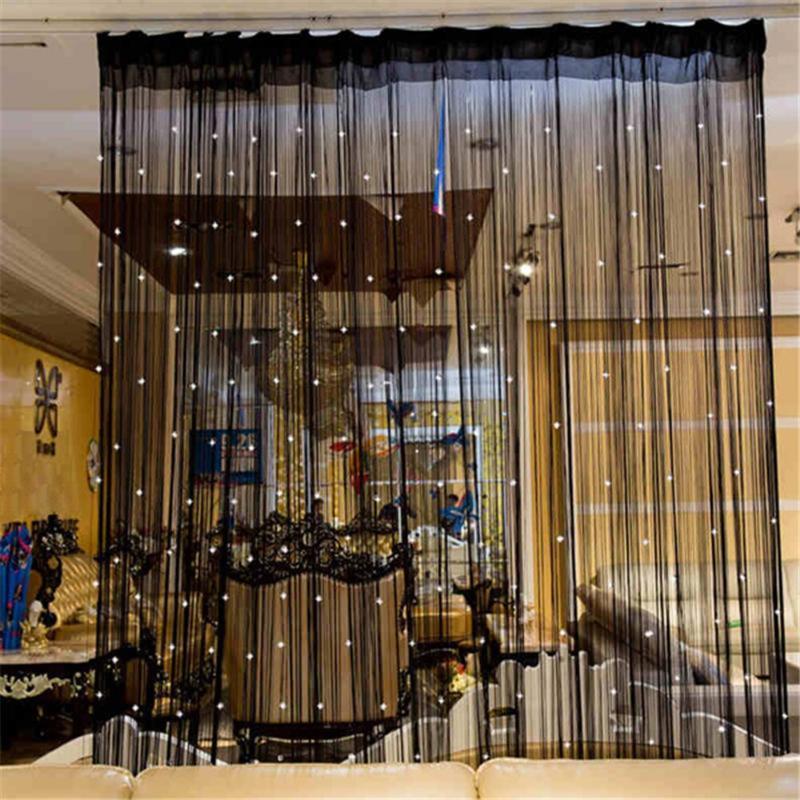 Черная цепная цепь занавес занавес блестящий кисточкой шторы-шторы двери дверной разделитель драпировки гостиная декор валинг дома украшения