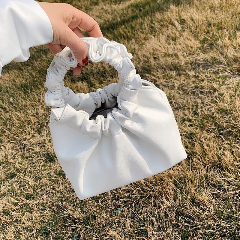 Alça Redonda Cor Sólida PU Couro Pequenos Totes Para Mulheres 2021 Moda Verão Crossbody Ombro Bolsas Simples