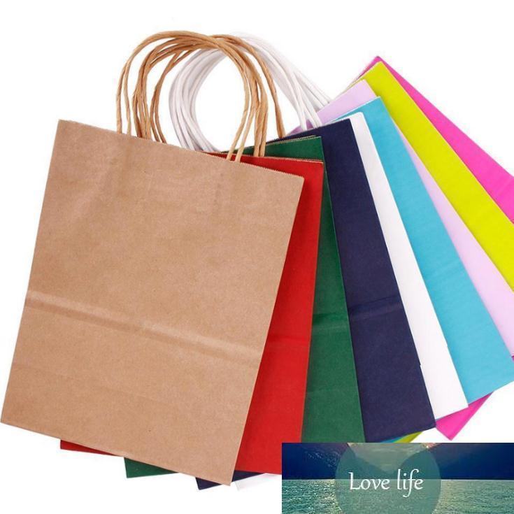 가방을 포장 높은 품질 크래프트 종이는 SN1304 10 색을 쇼핑 웨딩 사탕 색 종이 가방 들어 축제 선물 가방을 처리