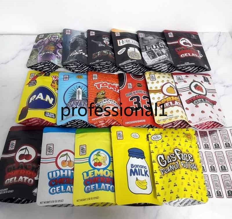 Nueva llegada 17 tipos 3.5g Mylar Bolsas Tomyz Merzcato Backpack Boyz 33 Lucky 420 Seco Herb Packaging
