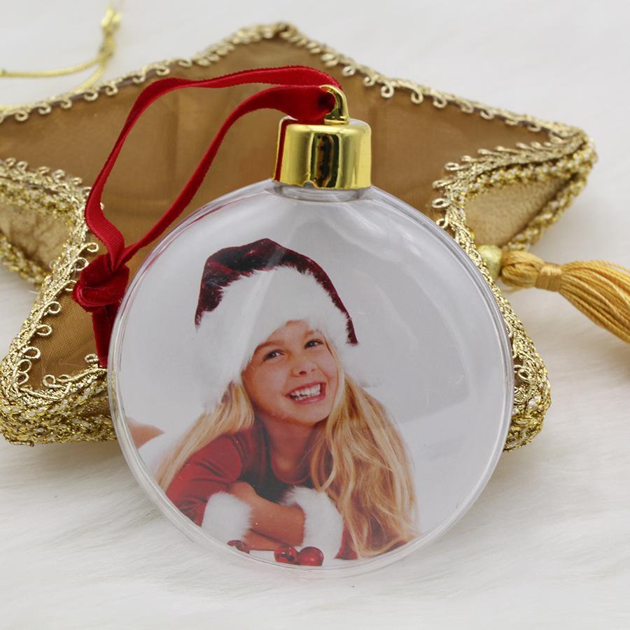 Fai da te Regali di Natale Photo Photo Ball Clip Trasparente rotondo Five-Star Albero di Natale Ornamenti Regalo di San Valentino W-00316
