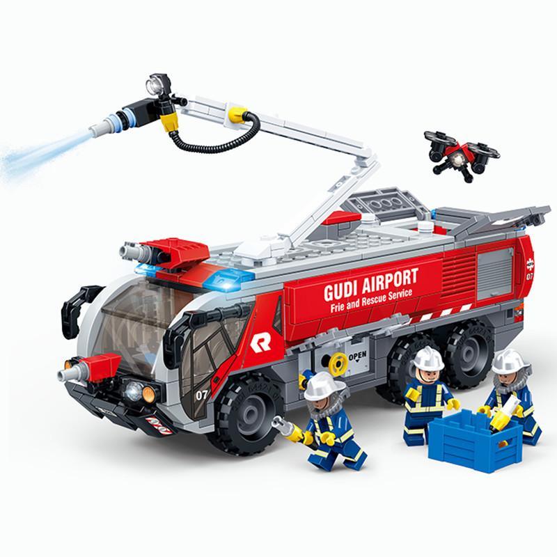 Gudi City Medizinische Ambulanz Rettungshubschrauber Notfallleiter Airport FIRE Truck Bausteine Feuerwehrfiguren Set Kinder Spielzeug C0120