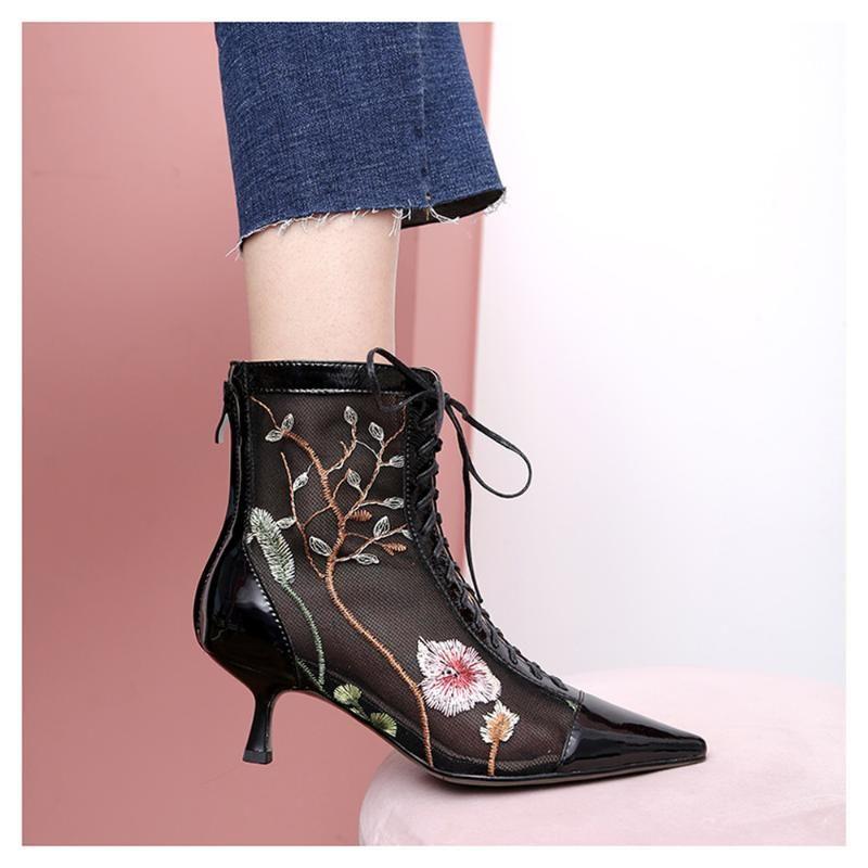 Botas para mujer tobillo malla bordado floral stilettos zapatos de tacón alto encaje de cuero real puntiagudo puntiagudo transpirable sexy negro