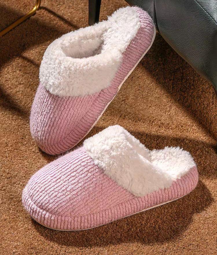 Winter neues Zuhause reine Farbe des japanischen Baumwolle Pantoffeln Männer und Frauen flachen runden Kopf Haushalts Baumwolle Schuhe