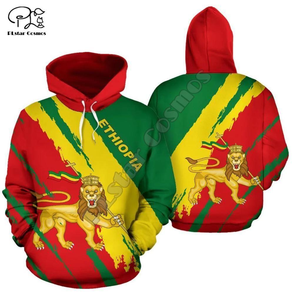 Hommes Femmes Ethiopie pleine impression 3D Sweats à capuche drôle de pays drapeau Fashion Sweatshirt capuche manches longues zipper lion unisexe Pull Y201006