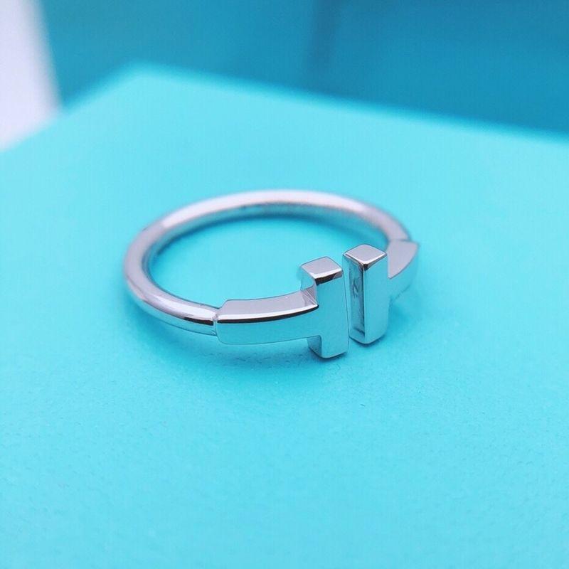 1: 1 Silid Silver Silver Anello aperto Originale di alta qualità Coil quadrato quadrato Doppia lettera ANELLO DONNA WIRE ANELLO CLASSICA Monili di moda Y1114