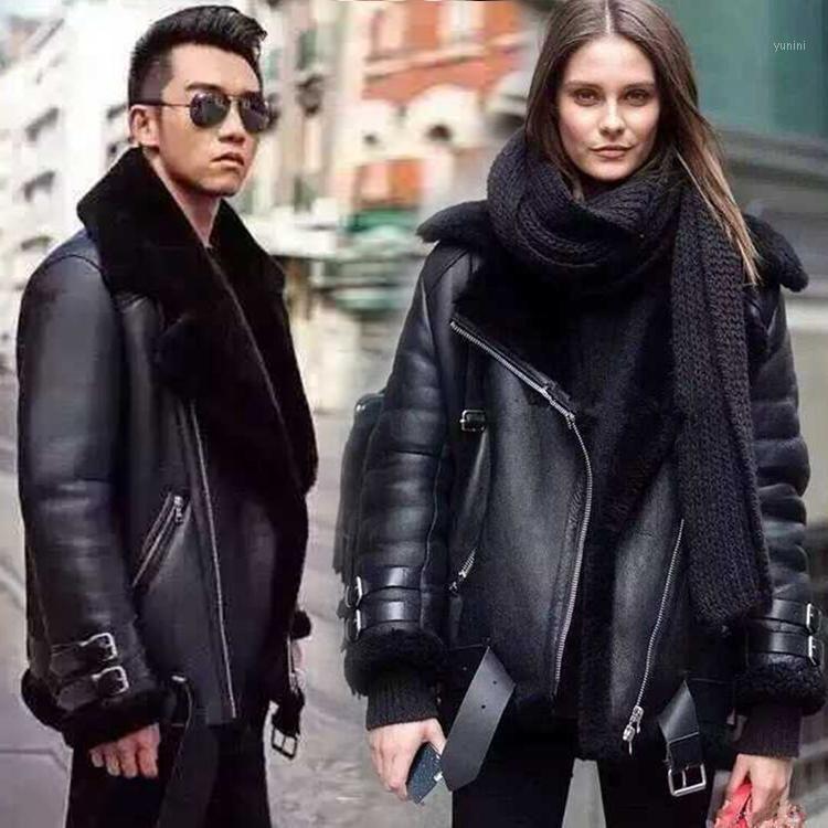 Yeni 2018 Kış Severler Tasarımcı Deri Hakiki Koyun Deri Motosiklet Ceket Çift Yün Polar Çizgili Coat Siyah XXL1