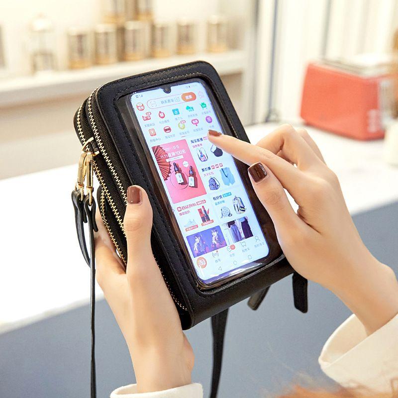 Çok fonksiyonlu Dokunmatik Ekran Cep Telefonu Çantası Kadın Çapraz Vücut Çanta 2020 Yeni Moda Büyük Kapasiteli Cep Telefonu Torbalar 13 Renkler