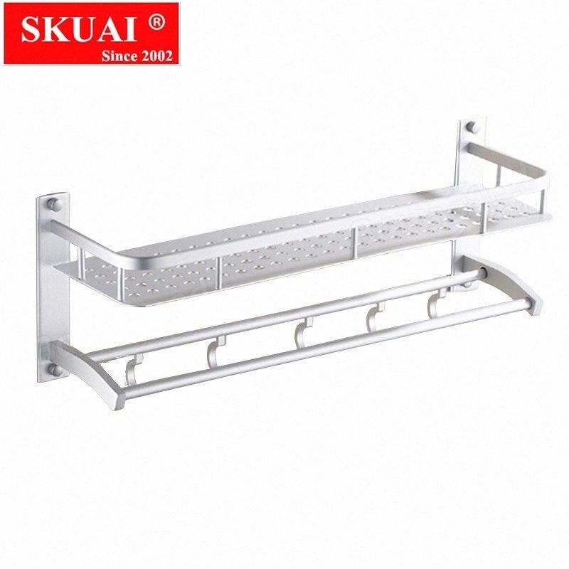 Serviette de bain multifonction en aluminium 2/3 couches supports muraux étagères Débarbouillette serviettes rack Porte 5 crochets Salle de bain Etagère zE1I #