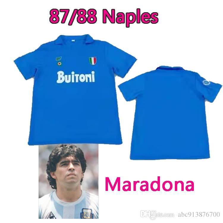 NCAA Serie Classic Neapolitan Ретро 1987/1988 Неаполь Диего Марадона 10 классных винтажных винтажных ретро Футбольная форма Футбол Футбол Таиланд Quali