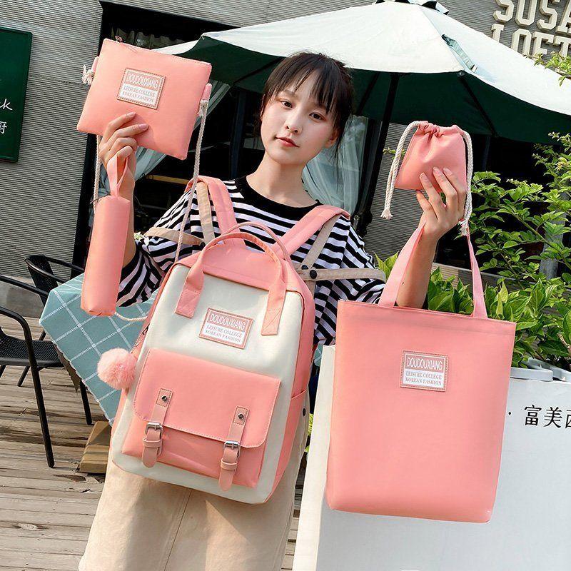 Сумки женщины плечо мода новая нейлоновая школа повседневная 5штная / установить рюкзак женский студент водонепроницаемый пакет fkvco
