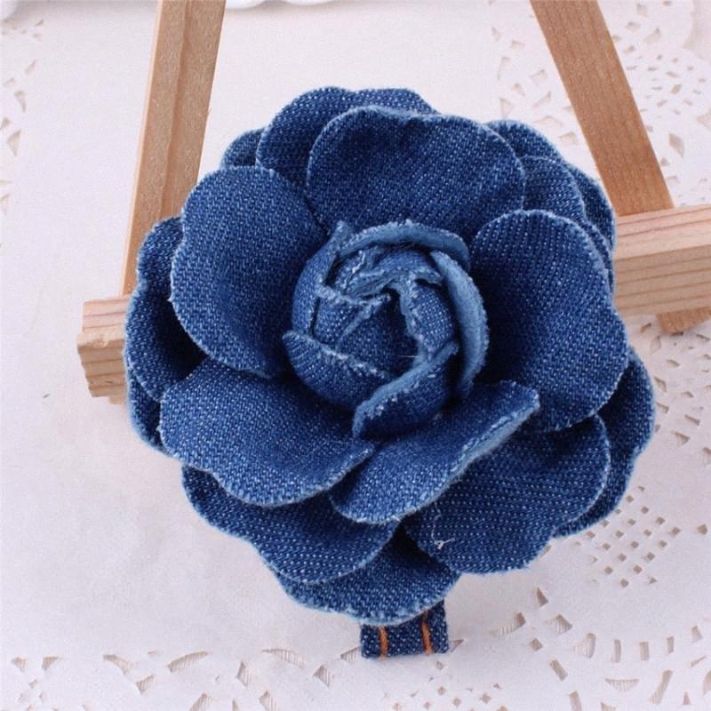 Clip de mezclilla de la horquilla de flores hechas a mano lateral Corea del Sur pelo hecho a mano adornos de joyería al por mayor del tocado c4XQ #