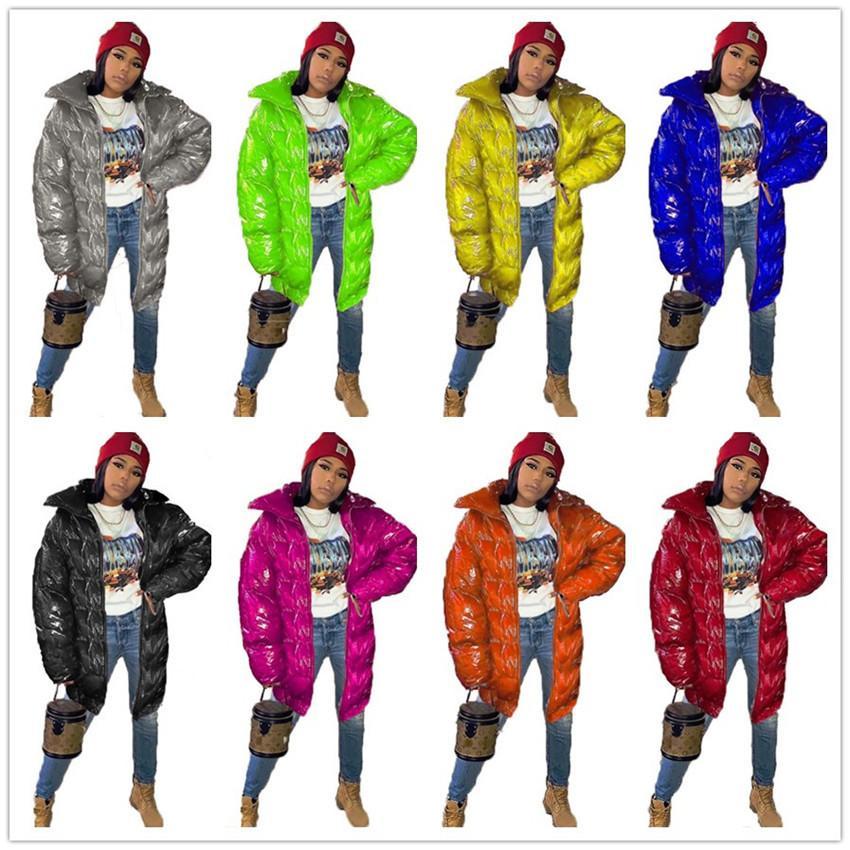 Cotone imbottito Coat giacca lunga di designer donne inverno caldo Outerwear PU colore luminoso chiusura lampo di modo antivento sci cappotto F110408