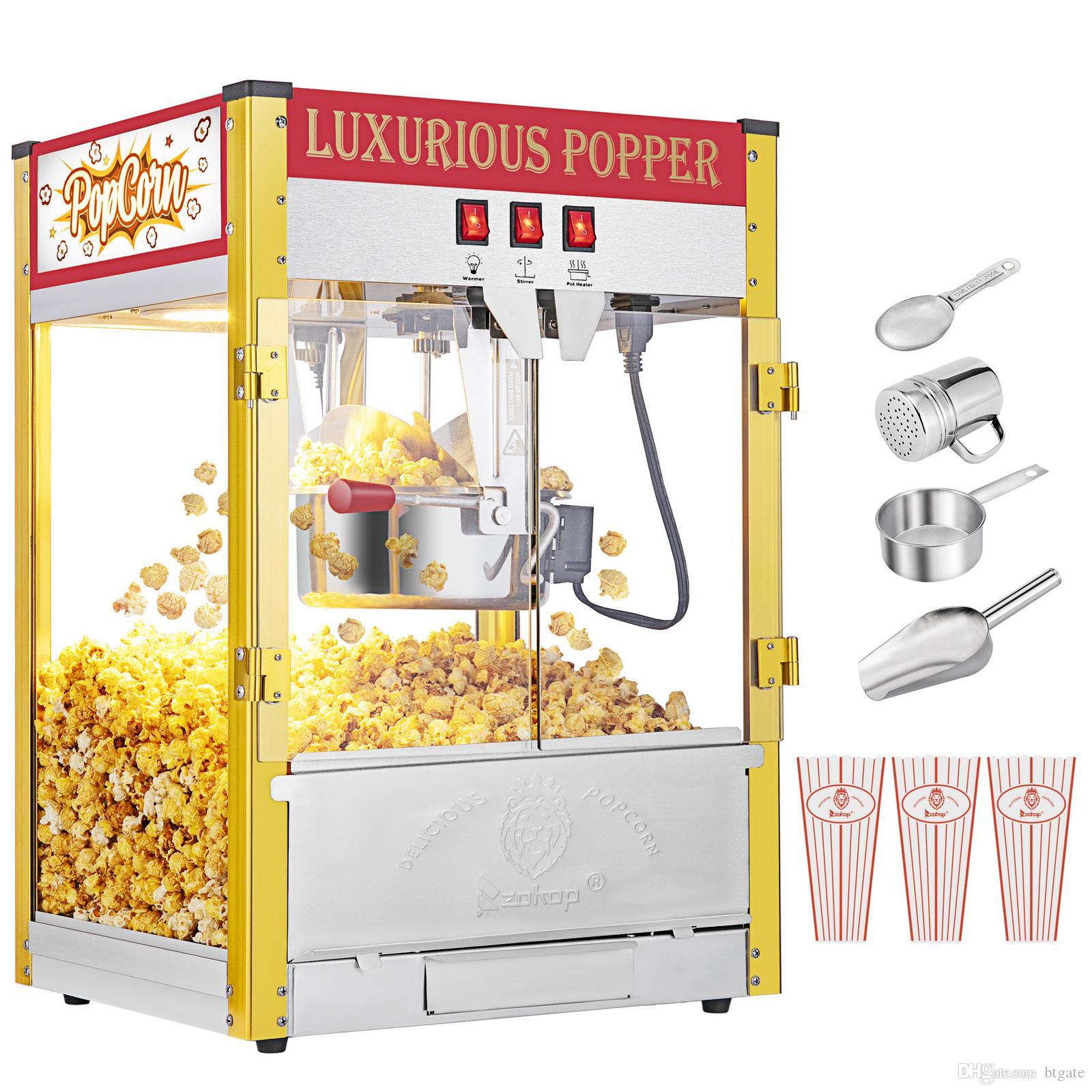 850 Вт старинные профессиональные электрические попкорн Maker Popper машина ретро двойной двери с освещением красный черный домашний кинотеатр кинотеатр