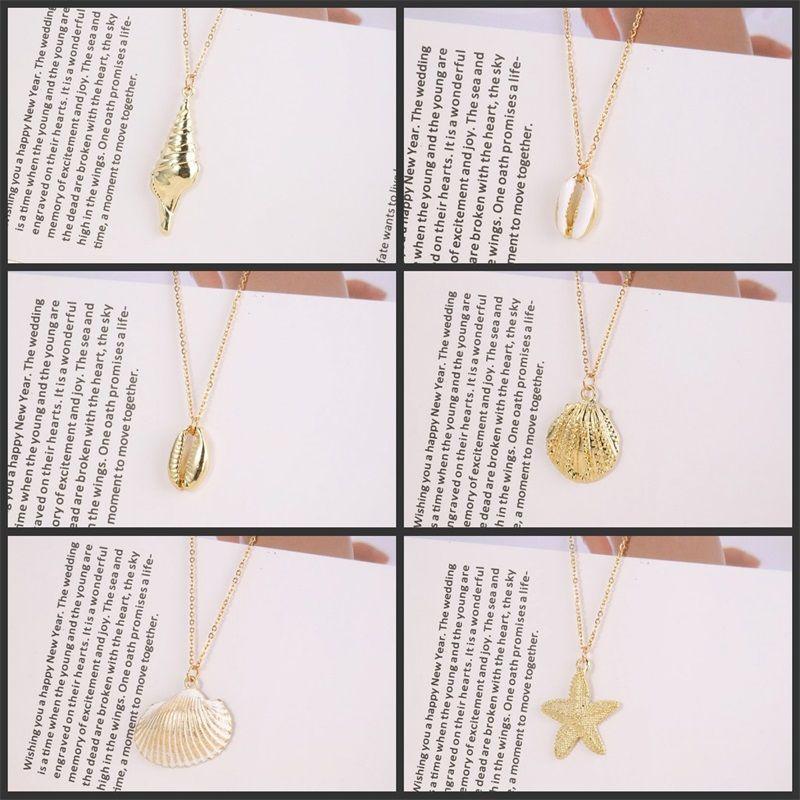 Shell Starfish Мужчины Женщины Ожерелье Ювелирные Изделия Ретро Цепь из нержавеющей стали Мода Мода Подвеска Ожерелья Пляж Праздник Стиль 3 2LY J2B