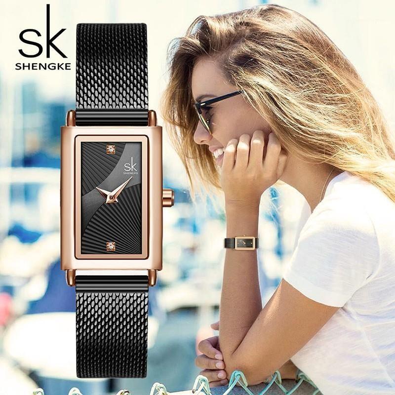 Shengke mulheres quartzo relógios moda senhoras relógio de relógio ouro relógios de pulso retângulo sail relógio montre femme sk1